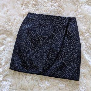 Loft Metallic Black Floral Skirt